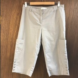 White House Black Market WHBM gray capris size 6